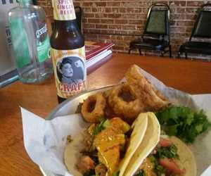 Blackened Chicken Tacos and Hand-Battered Onion Rings